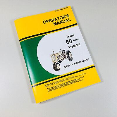 Operators Manual For John Deere 50 Tractor Owners Maintenance Controls