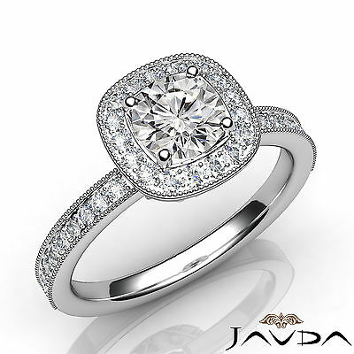 Halo Pave Bezel Set Round Diamond Engagement Milgrain Edge Ring GIA E VS2 1 Ct