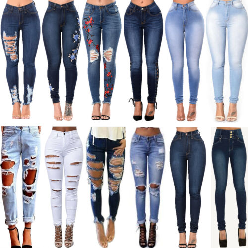 Women Denim Pants Stretchy Ripped Destroyed High Waist Slim