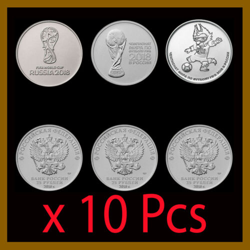 Russia 25 Rubles (3 Coin Full Set) x 10 Lots, 2018 FIFA World Cup, Soccer UNC