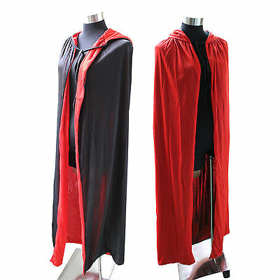 Unisex Halloween Cloak Cape Hooded Halloween Costume Adult Red/Black Duplex ](Halloween Red Hooded Capes)