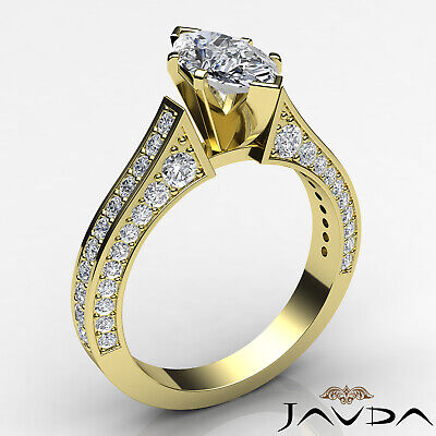 Micro Pave Set Marquise Diamond Engagement Ring GIA Certified I Color SI1 2 Ct 7