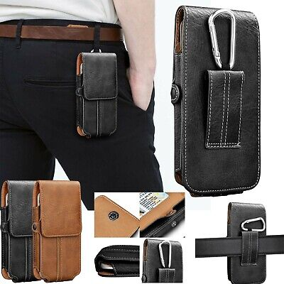 Vertical Leather Case Cover For Motorola Cell Phone Pouch Holster With Belt Loop