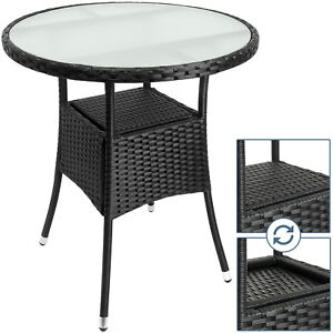 Poly Rattan Side Table Outdoor Patio Garden Deck Coffee Round Glass Top New