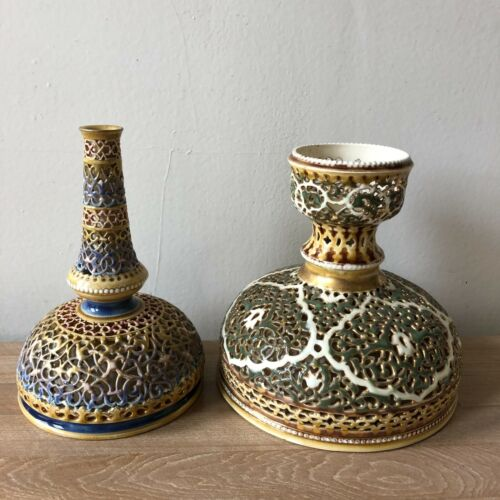 2 Zsolnay Pecs Islamic Style Vases