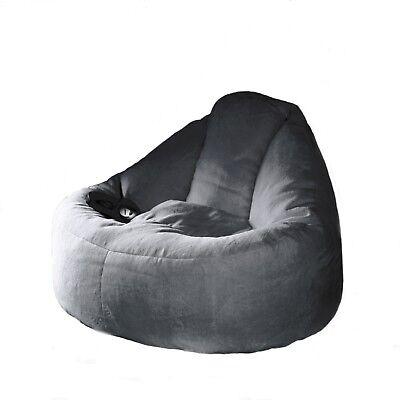 Deluxe Charcoal Plush Lounger Chair FUR BEANBAG Cover Machine Washable Bean (Deluxe Bean Bag Chair)