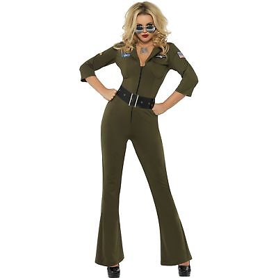 Top Gun Aviator Female Pilot Fighter Army Womens Ladies Fancy Dress Costume