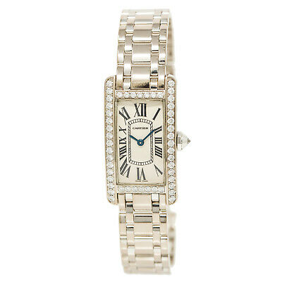 Cartier Tank Wb7073l1 2489 Factory Diamond Women's Watch 18K White Gold 20MM