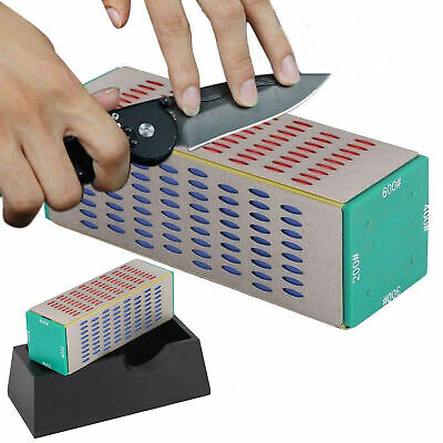 4 Sided Whetstone Kitchen Knife Sharpener Sharpening Stone Diamond Hone -