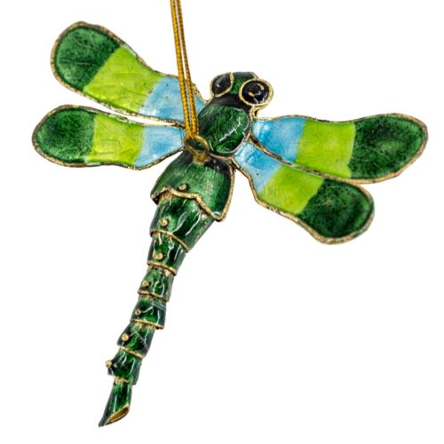 """Cloisonne Enameled Metal Dragonfly Ornament 3.75"""" Wide w/Articulated Tail New!"""