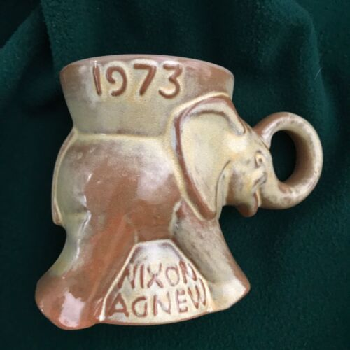 Frankoma 1973 Nixon Agnew GOP Elephant Republican Mug(s) Tan Cream Brown UNUSED