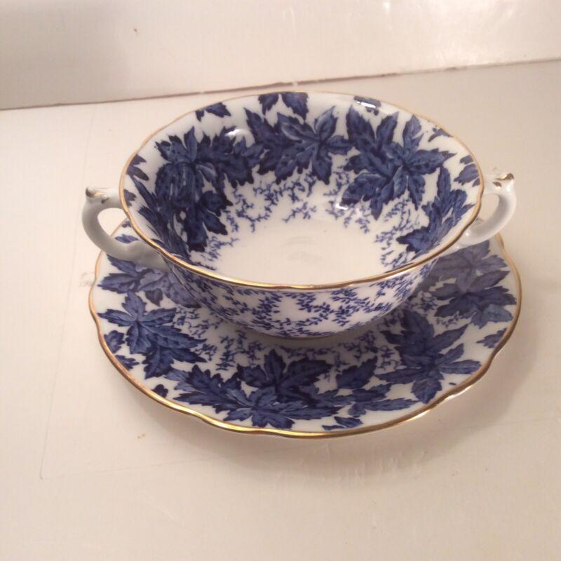 BEAUTIFUL COALPORT CREAM SOUP W/ SAUCER  PAT 4891-A  BLUE IVY LEAVES