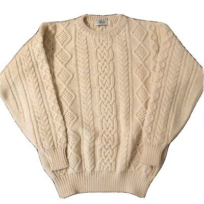 Blarney Woolen Mills Ireland Sweater Fishermans Wool Cable Knit  Men's Large L