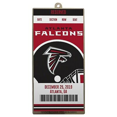 Atlanta Falcons Metal Ticket Football Christmas Tree Holiday Ornament New Logo ()