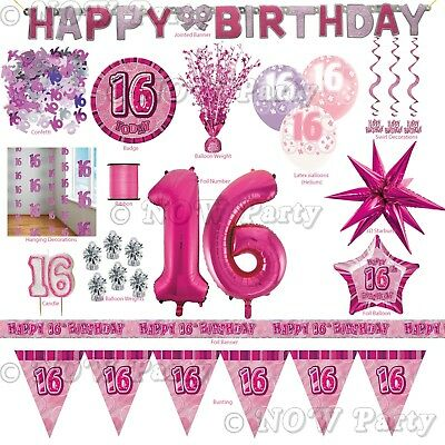 Pink Girl Milestone Special 16th Age 16 Birthday Party Supplies Decorations ()