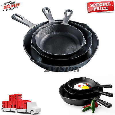 Pre Seasoned Cast Iron 3 Piece Skillet Set Stove Oven Fry Pans Pots Cookware New