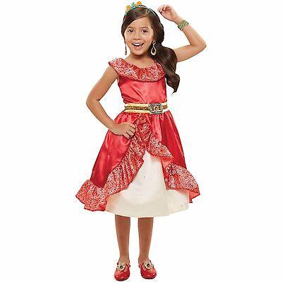 NEW DISNEY PRINCESS DRESS ELENA AVALOR RED OUTFIT GIRLS HALLOWEEN COSTUME  (Disney Princess Halloween Games)