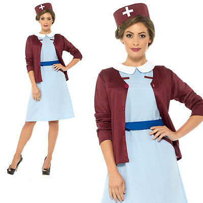 Vintage Nurse Costume 1940s WW2 Adult Womens Ladies Fancy Dress Outfit](Ww2 Fancy Dress Costumes)