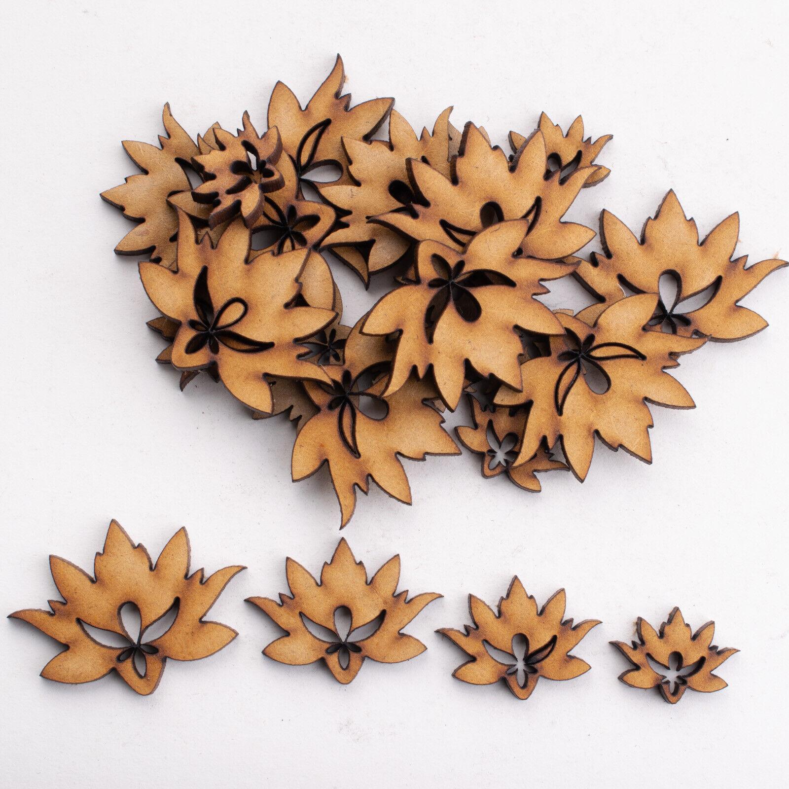 50 Mixed Flower Wooden Shape Craft Embellishments Scrapbooking Art Craft