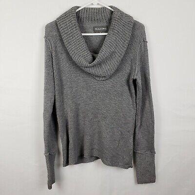 Michael Stars Womens Sweater Size M/L Gray Pullover Cowl Neck Knit 100% Cotton  100% Cotton Pullover Sweater