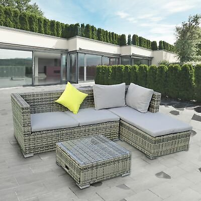 Garden Furniture - ALEKO Outdoor Garden Furniture Patio Rattan Sectional Set, Table and Pillows