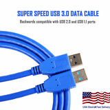 USB 3.0 A Male to A Male USB to USB Cable Cord Blue 6 Feet Data Transfer