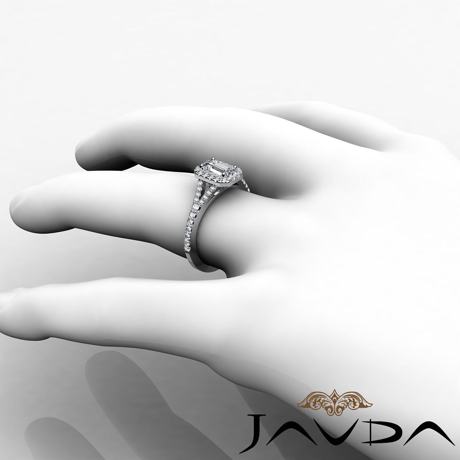 1.23ctw Halo U Pave Stone Emerald Diamond Engagement Ring GIA H-SI1 White Gold 3