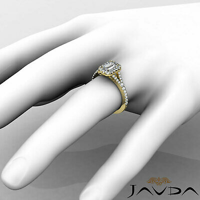 Halo Split Shank U Pave Set Emerald Shape Diamond Engagement Ring GIA H VS2 1Ct 11