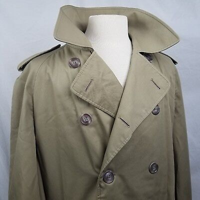 Aquascutum Mens Trench Coat 42 44 46R Beige Double Breast Aqua 5 Harrods England, used for sale  Bakersfield