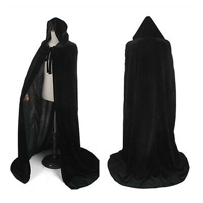 Velvet Hooded Cloak Gothic Vampire Wicca Robe Medieval Larp Cape Unisex - Black Velvet Hooded Cape