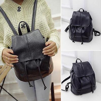 ladies womens leather shoulders bag travel backpack