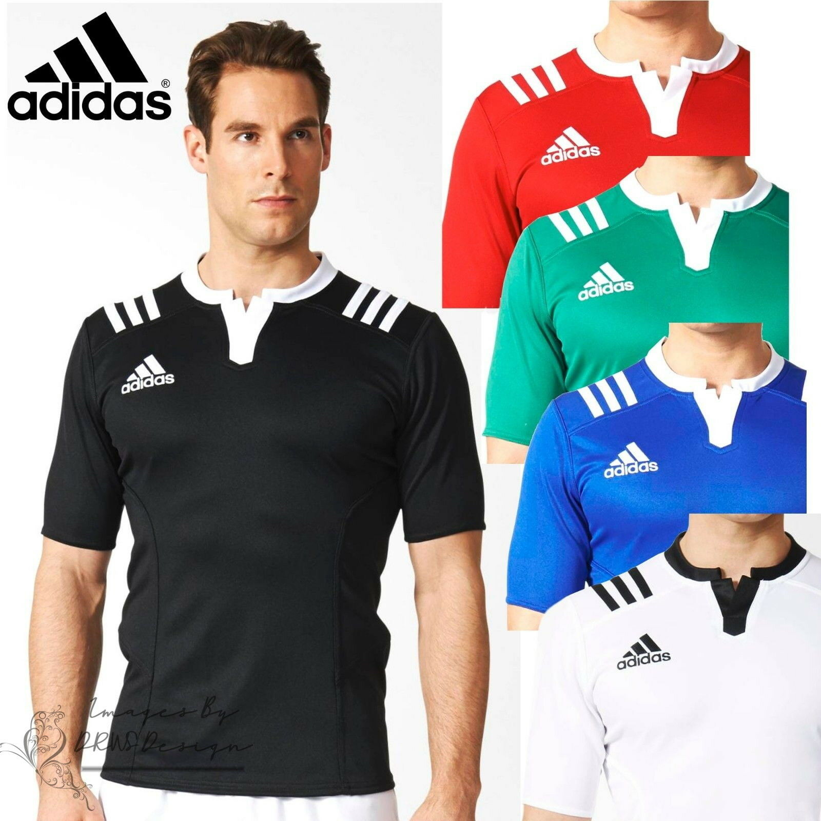 adidas 3 Stripe Mens Green Fitted Rugby Jerseys Team Sport Football T-Shirt Top