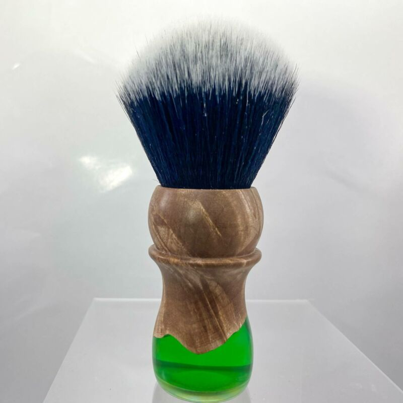 Wood and Green Resin 30mm Shaving Brush - by Turn N Shave (Pre-Owned)