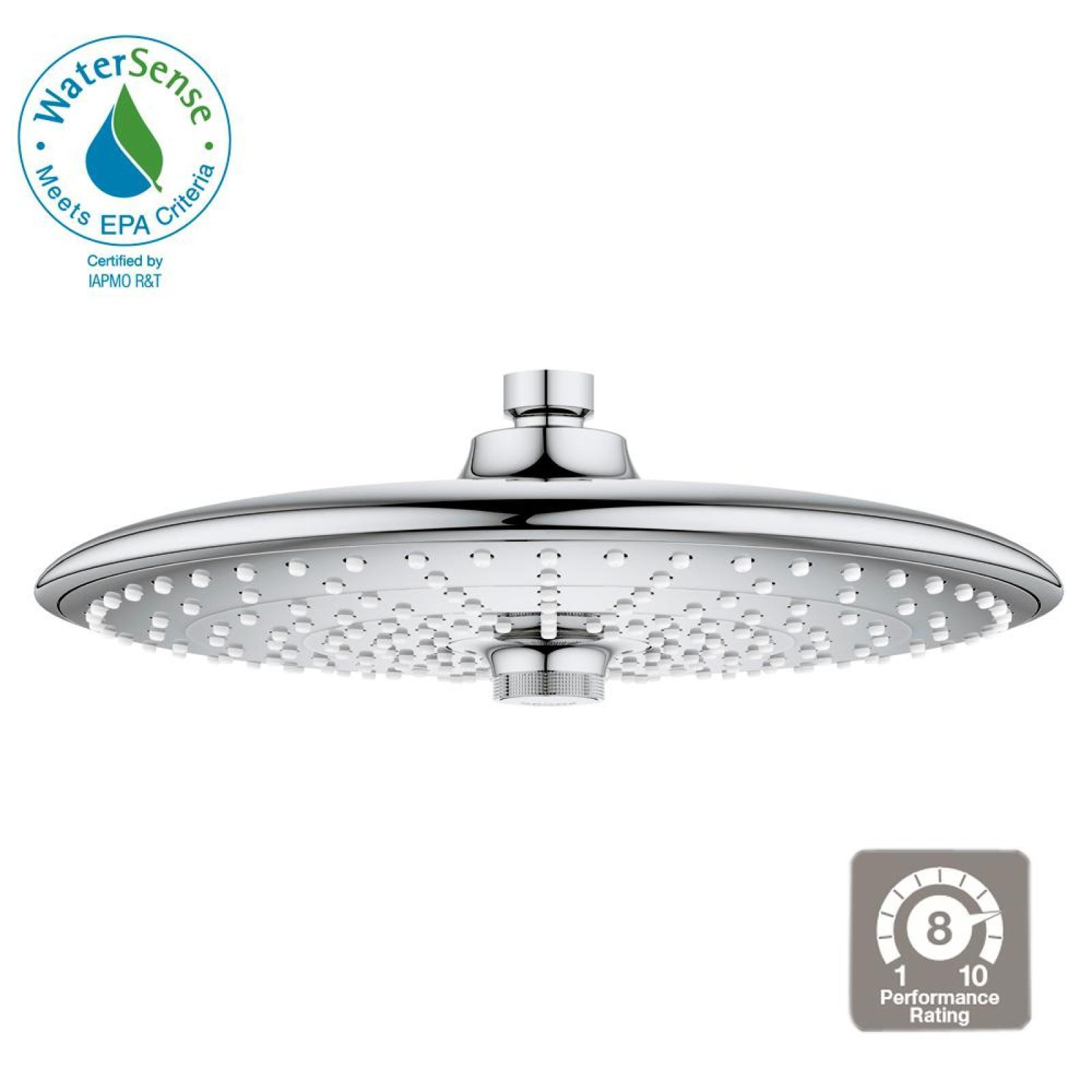 Details About Grohe 3 Spray 10 In Fixed Shower Head In Chrome Rainshower Self Cleaning Stylish