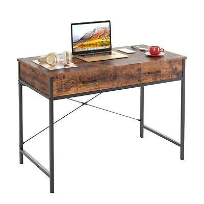 42.5″ Writing Desk Study Computer Desk Brown Texture Laptop PC Table Workstation Furniture