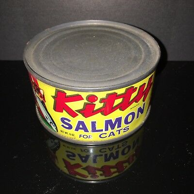 BEST IN SHOW! Kitty Salmon 1950s Cat Food Tin Can Paper Label Pet Shop dog &