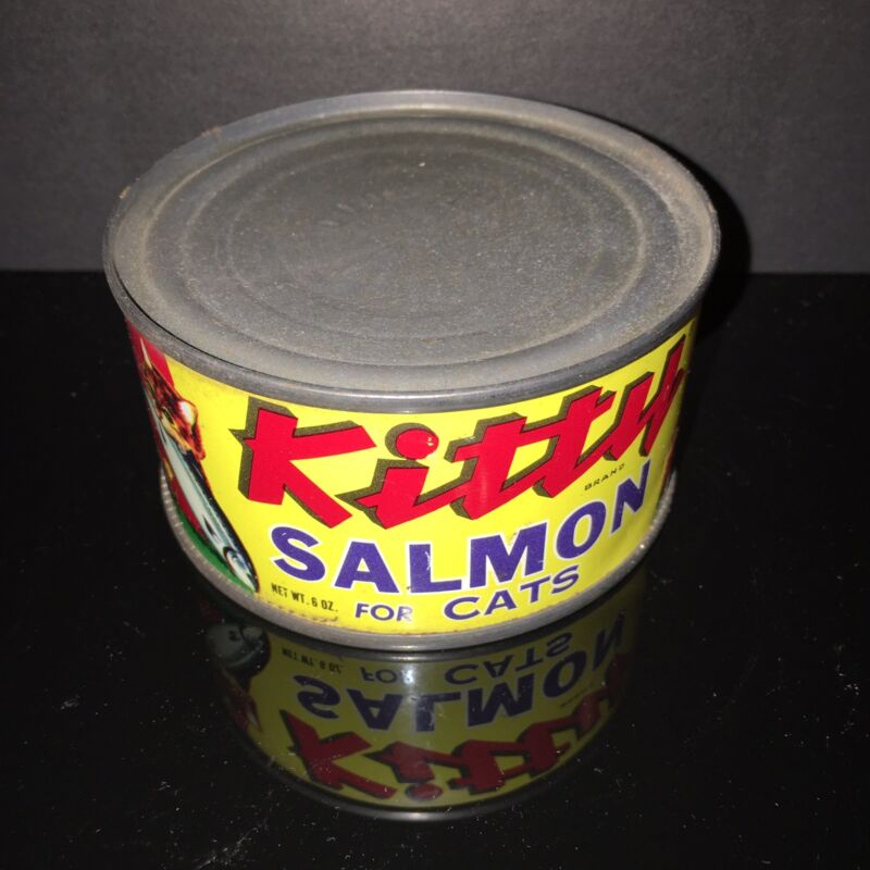 BEST IN SHOW! Kitty Salmon 1950s Cat Food Tin Can Paper Label Pet Shop dog & cat