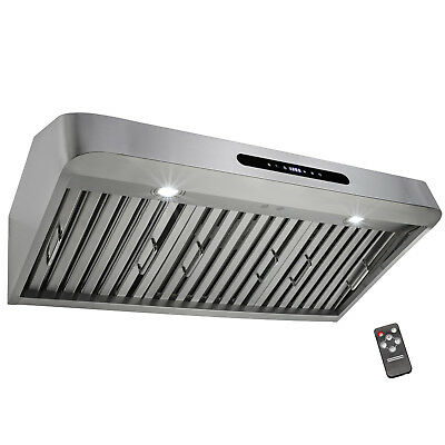 "30"" Under Cabinet Stainless Steel Touch Panel Kitchen Range Hood Vent w/ Remote"