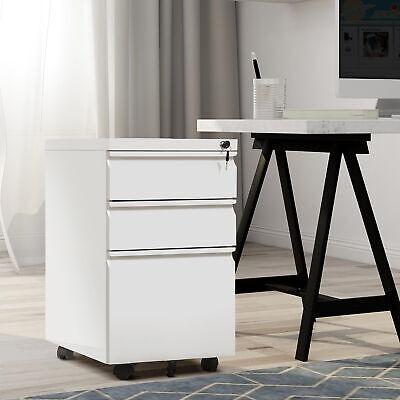 3-drawer Metal Mobile Rolling Filing Cabinet Wlock For Home Office Blackwhite