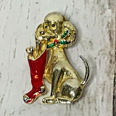 Christmas Puppy Dog With Socking & Holly Gold Tone Red Green Enamel Pin Brooch