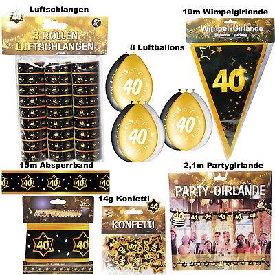 Großes Deko Set 40. Geburtstag 40 Jahre Dekoration Party Zubehör Gold Jubiläum (40 Geburtstag Party Dekorationen)