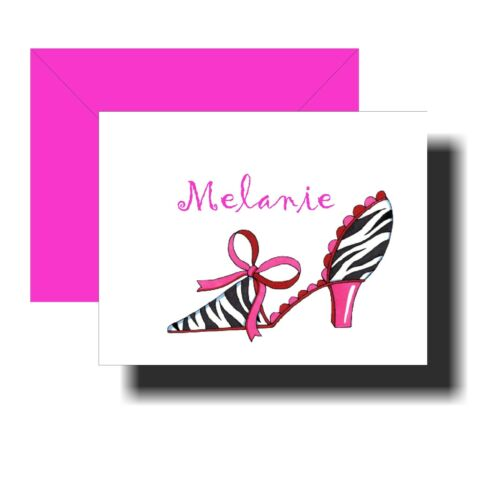 Personalized Note Cards HOT PINK ZEBRA HIGH HEEL Set of 8 notecards w/ envelopes