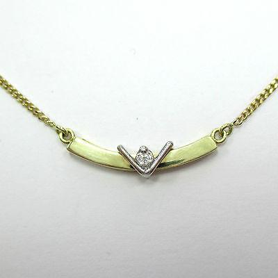 972 - Zierliches 44 cm langes Collier aus Gold 585 mit Brillant -1671-