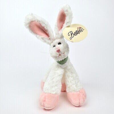 Bestever White Bunny Funny Feet Rabbit Plush Stuffed Animal Green Neckerchief