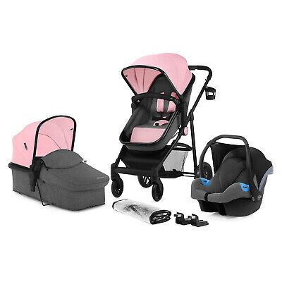 Kinderkraft Pram 3in1 Set JULI Travel System Baby Pushchair Buggy Foldable Pink