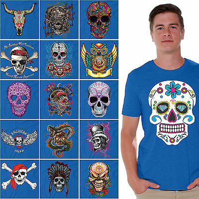 Sugar Skulls T-SHIRT Day Of The Dead Shirts Halloween Dia De Los Muertos BLUE