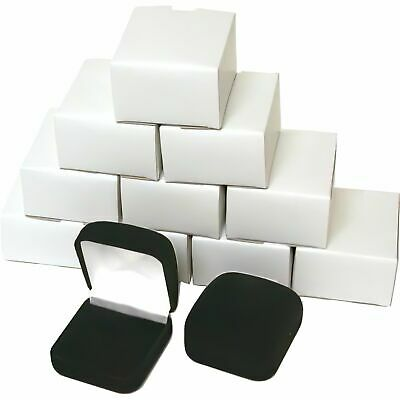 12 Black Flocked Square Ring Gift Boxes Jewelry Display