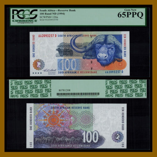 South Africa 100 Rand, ND 1994 P-126a African Buffalo PCGS 65 PPQ