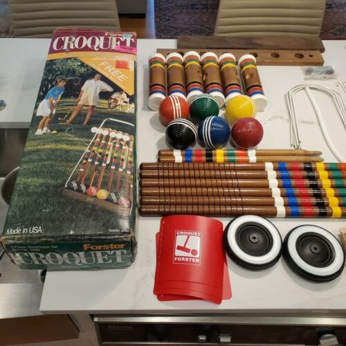 VTG Complete Forster Skowhegan Croquet 6 Player set with Rolling Cart Stand Box