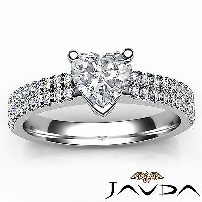 Double Prong Set Heart Natural Diamond Engagement Ring GIA Certified F VVS2 1Ct 3
